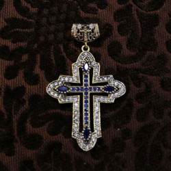 Cruz de plata y circonitas azul y blanca